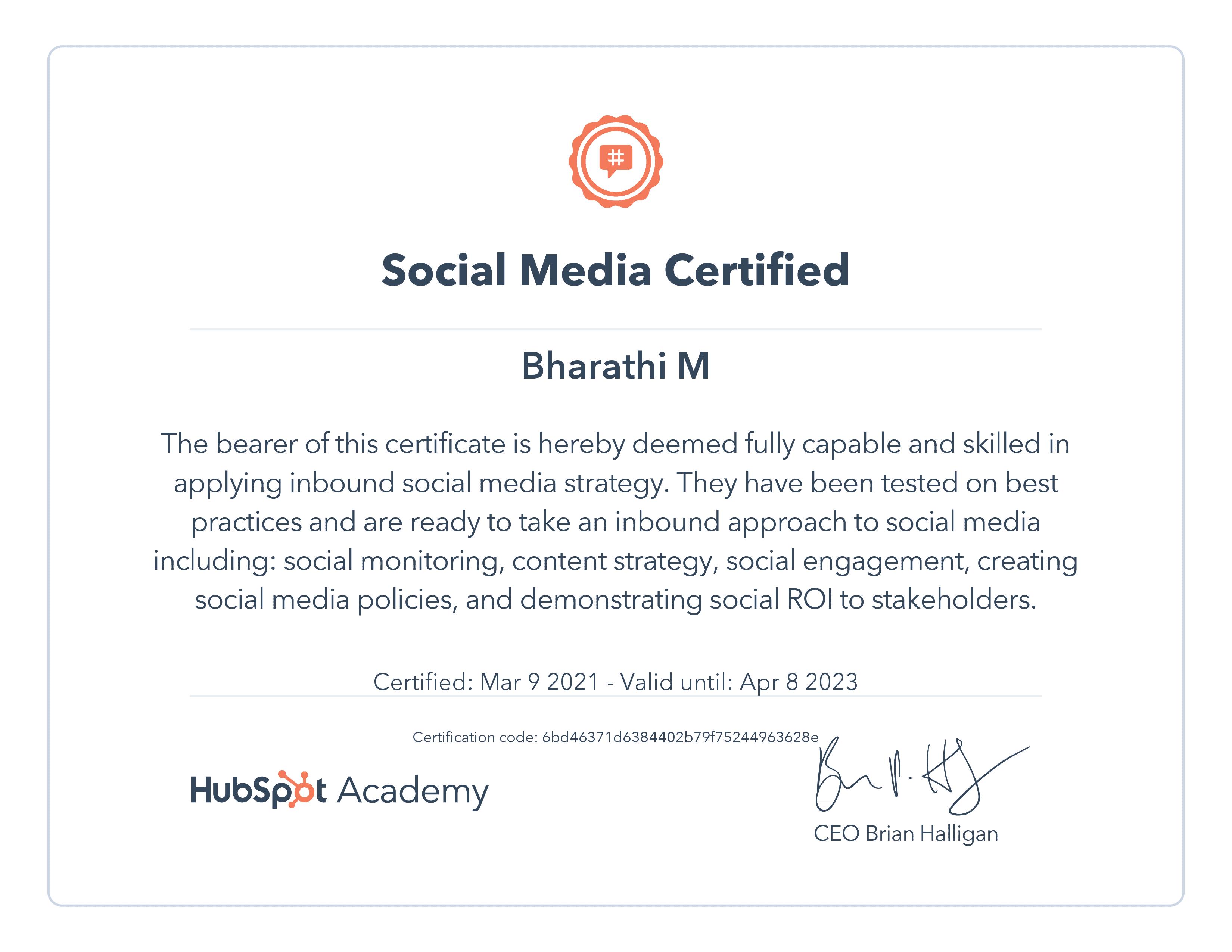 Social Media Certificate